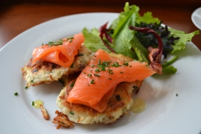 Latkes with Smoked Trout and Truffle Oil